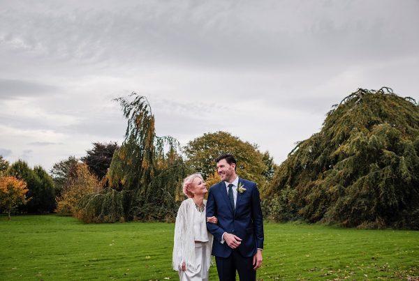 Bride & Groom in grounds of Bellinter House in Ireland