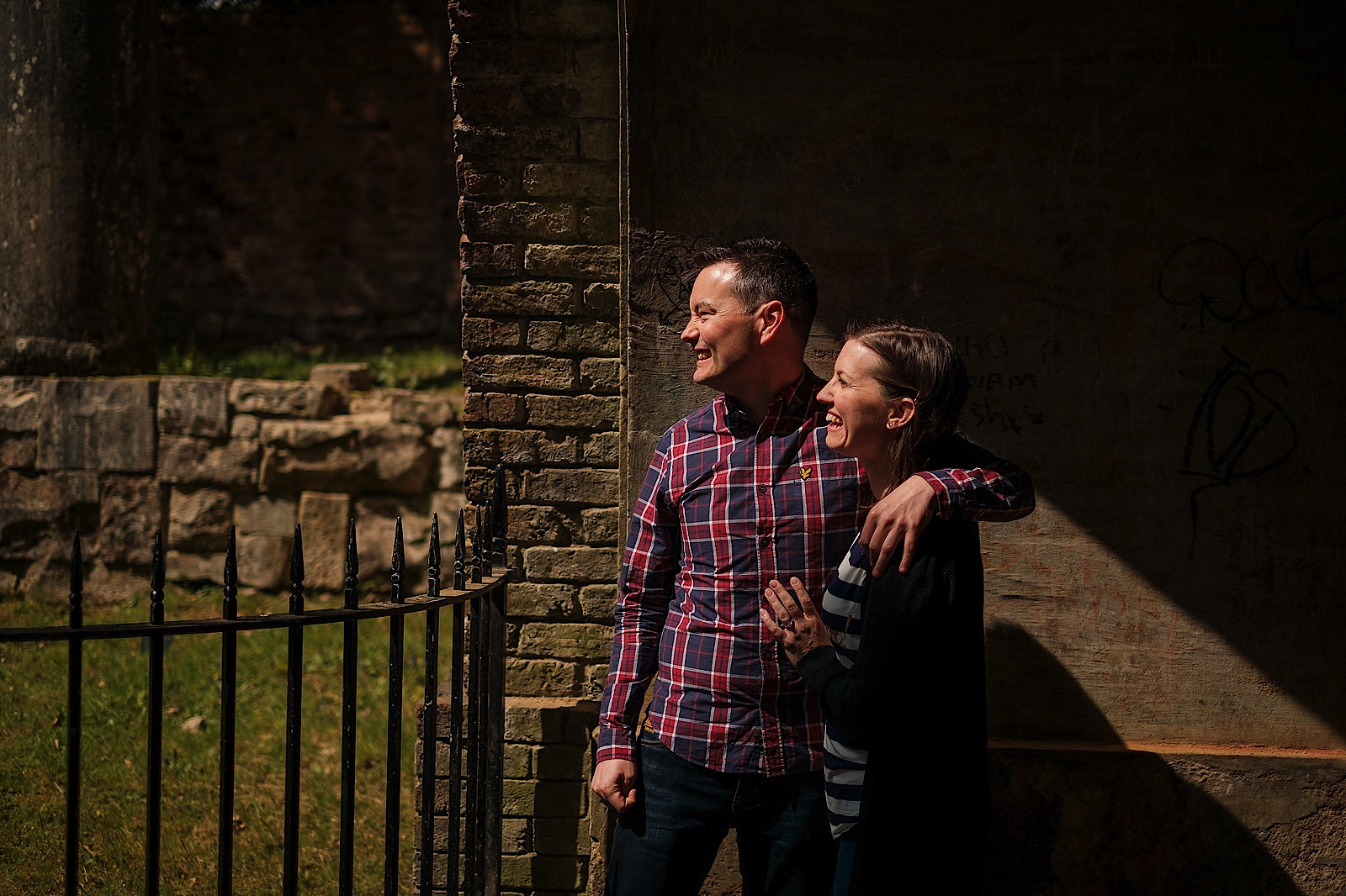 Couple laughing during a pre wedding shoot