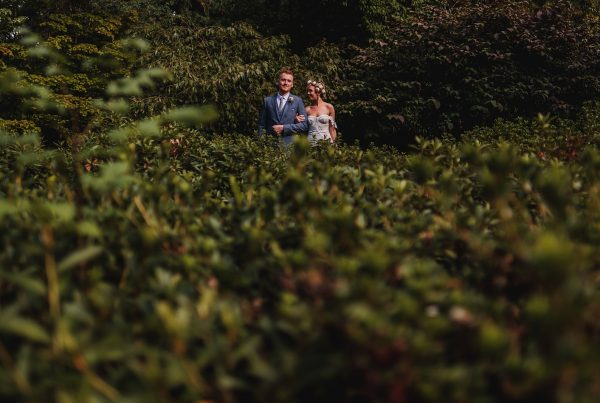 Bride & Groom captured amongst greenery