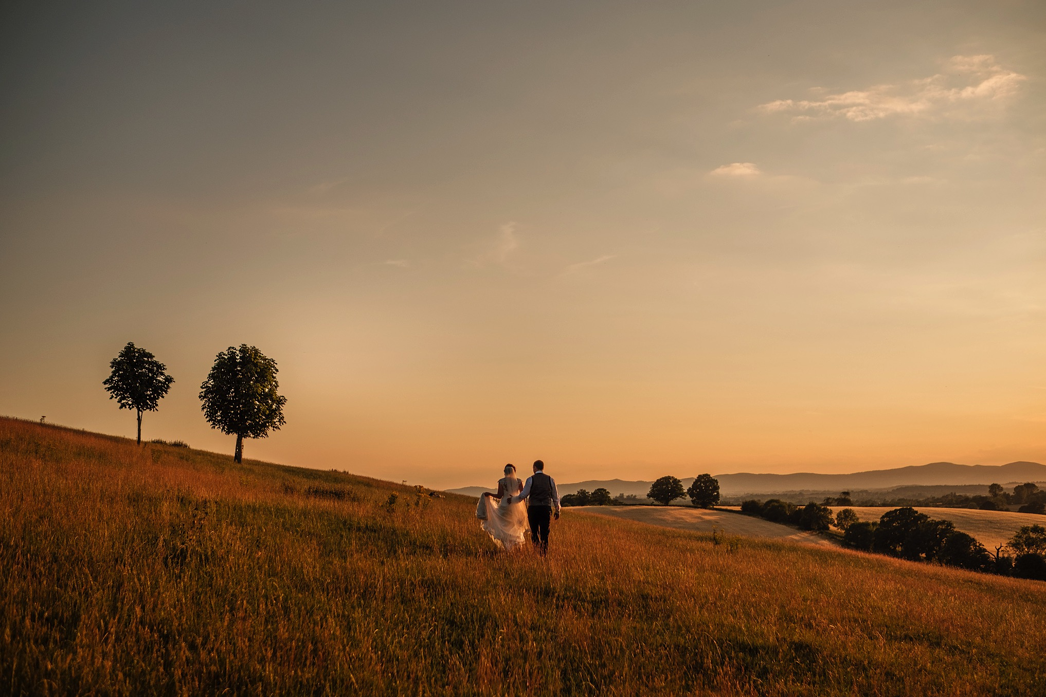 Bride and Groom Walking Through Deer Park in the Sunset