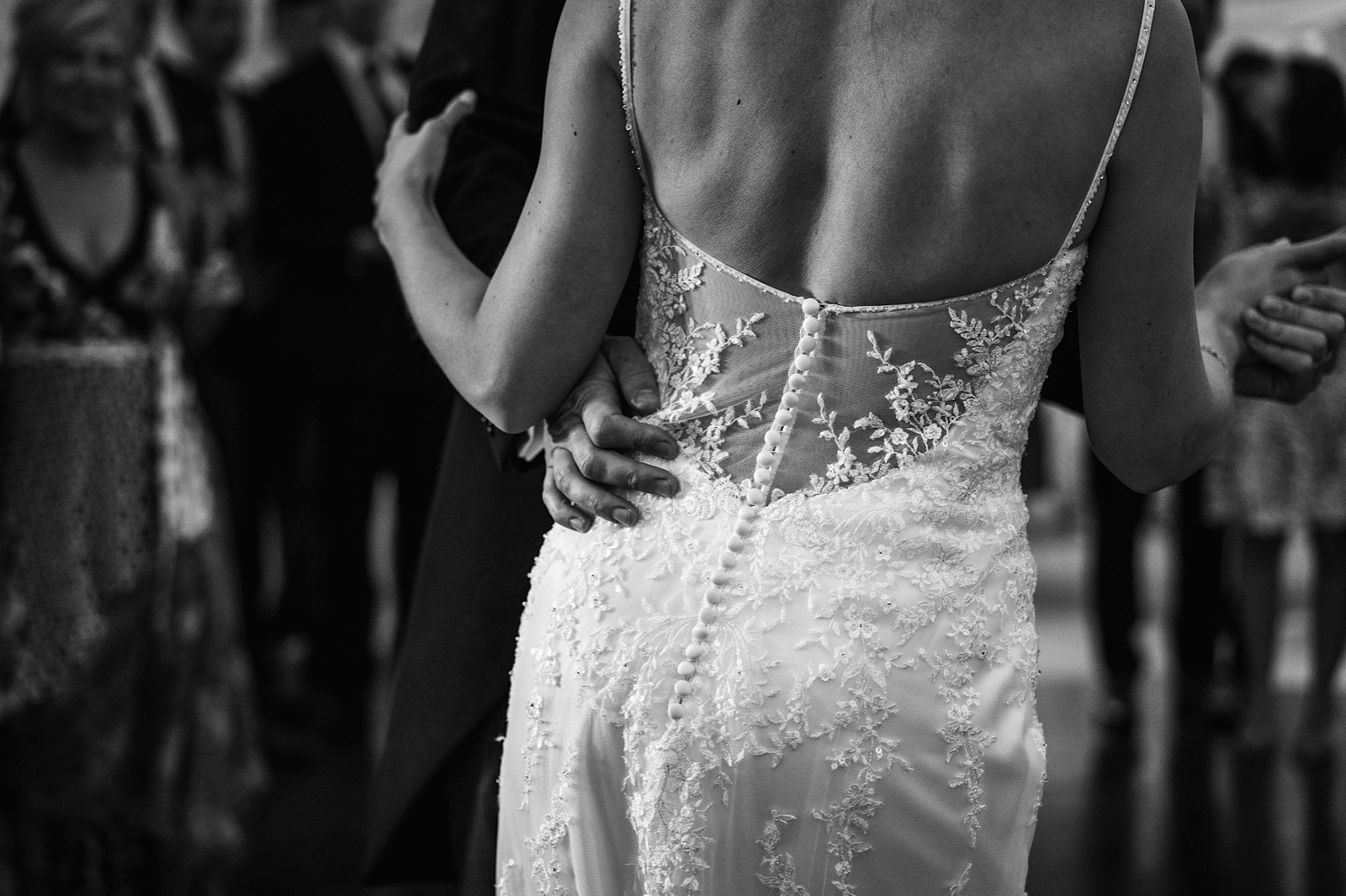 Close up photo of Bride and Groom having their first dance.
