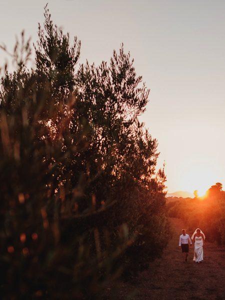 Couple walking through an Orangery during golden hour