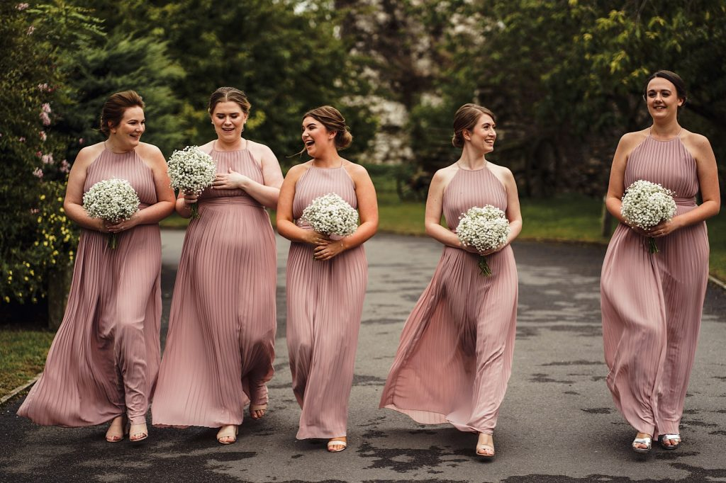 Row of Bridesmaids in Pink