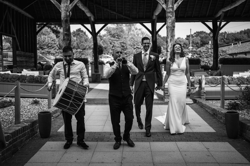 Bridal Entrance to the Barn of Gaynes Park along with a traditional Turkish Davul and Zurna