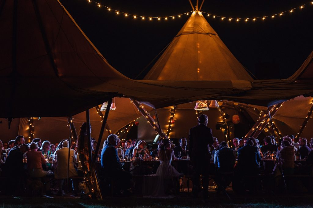 Gorgeous Tip Wedding venue lit with fairy lights