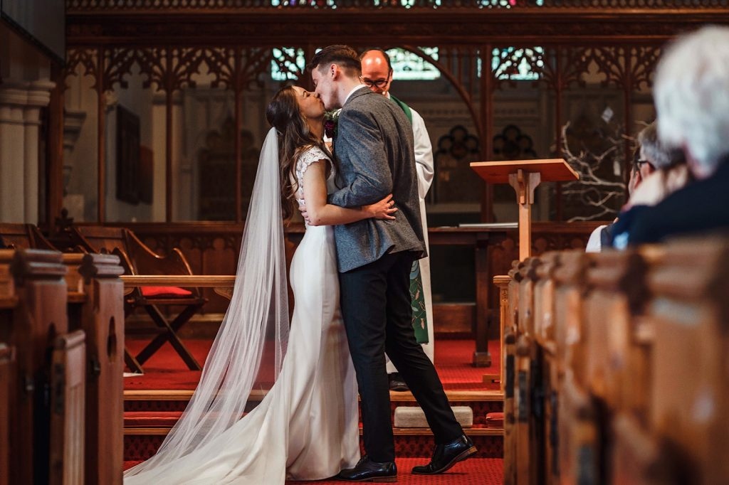 Bride and Groom just married at Christ Church in Warley