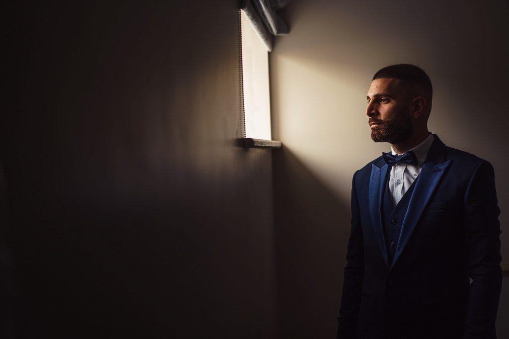 Portrait of Groom at Wedding Venue in Essex