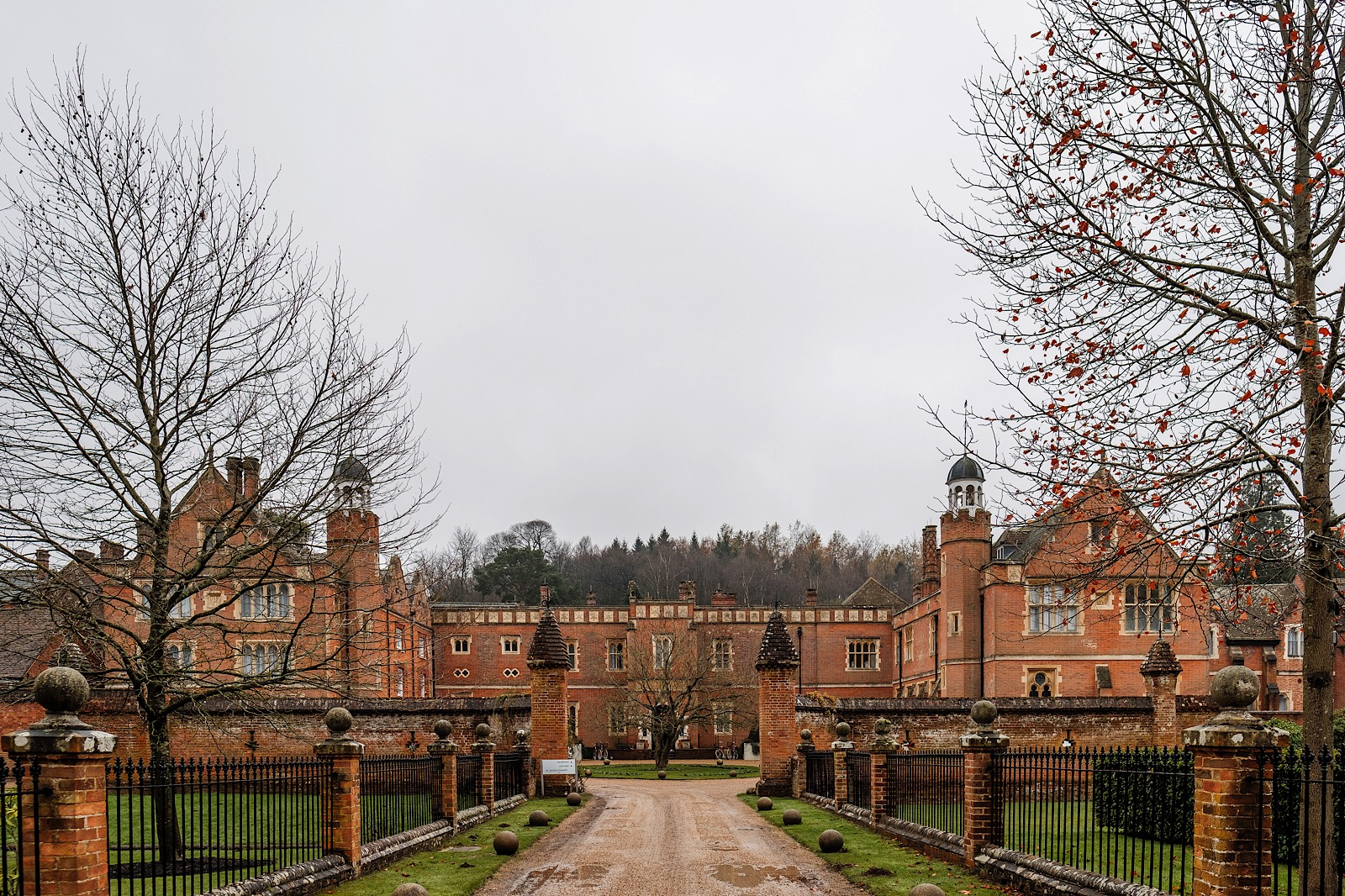 Wotton House in Dorking. A view of the outside of this grand redbrick Surrey wedding venue shot from the driveway